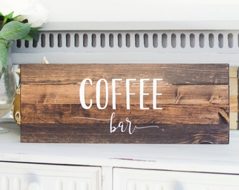 Coffee Bar Wooden Sign - Home Decor - Painted Wood Sign - Distressed Wooden Sign - Pallet Sign - Rustic Wooden Sign - Coffee Decor