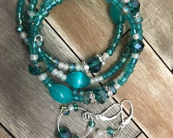 Teal Green Beaded Memory Wire Bracelet Set with Silver Plated Earrings Glass Beads & Czech Glass Beads Jewelry Cuff