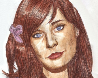Zooey Deschanel pen and watercolour picture