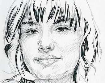 Original pen drawing of Demi Lovato