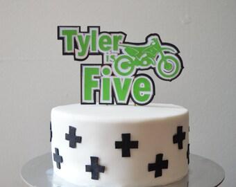 Motorbike name cake topper
