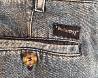 1980's Burberry London Pleated Denim Trousers - Jeans - 31/30