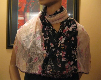 """scarf/shawl for women - fabric and lace-""""model rosa"""""""
