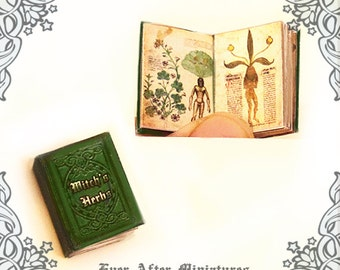 Witch's Herbs Dollhouse Miniature Book – 1:12 Witch Herb Magic Miniature Book – Herb for Magic Potion Making - Halloween Printable DOWNLOAD