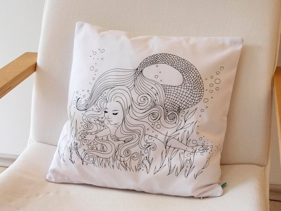 mermaid mermaid pillow coloring pillow pillow case. Black Bedroom Furniture Sets. Home Design Ideas