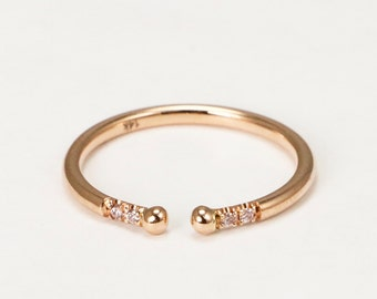 14k Rose Gold Band With Pink Diamonds, Delicate Rose Gold Thin Band with Diamonds, Stackable Ring with Pink Diamonds
