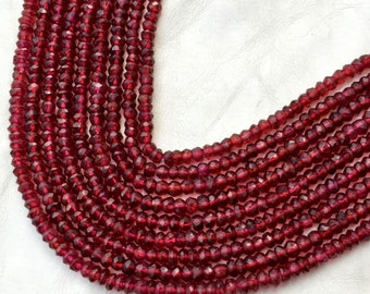 AAA Natural Pyrope Garnet Strand, 14 Inches Strand, Super Fine Quality Garnet Faceted Rondelles Faceted Rondelles 4mm