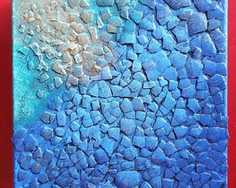Abstract Art - Acrylic Abstract Painting - Peaceful Art - Blue Painting - Textured Painting - Mixed Media Painting - Small Blue Painting