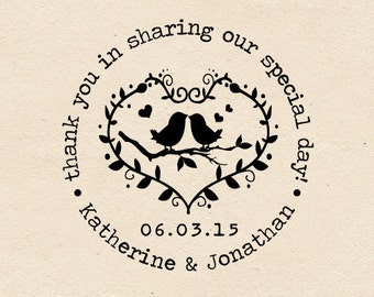 Self Inking or Mounted handle Custom Wedding Stamp Love Bird , thank you in sharing our special day  -W20