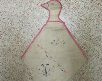 """Louise - clothespin holder, vintage; goose shape with cross stitch of butterflies & """"Louise"""""""