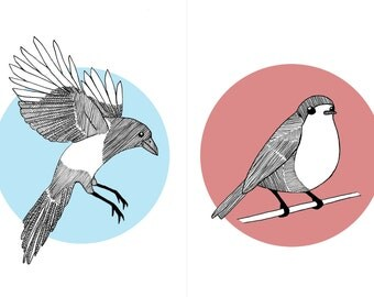 A5 Digital Bird Prints