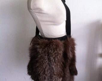 Exclusive women bag Fur Real Polar Fox , handmade design, size Medium.