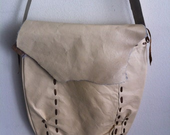 Beige handmade leather bag, big shoulder bag on a long strap.