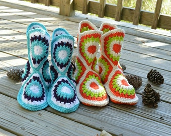 Granny square slippers,  house slippers.  Crochet house slippers
