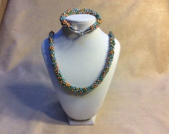 "Kumihimo 24"" necklace with 7/8 in bracelet with silver clasp"