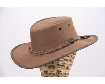 Real Australian Leather Hat. Original Barmah Hat-in-a-Bag. Made in Australia. Hickory Color