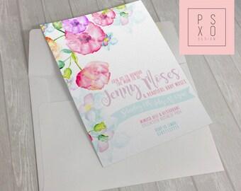 Beautiful Watercolour Floral Baby Shower Invite | Printable Invite | Custom Invite |