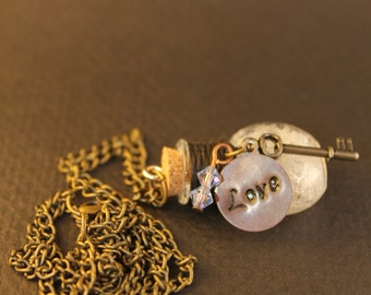 Love and Key crystal necklace