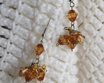 Amber Colored Cluster Earrings