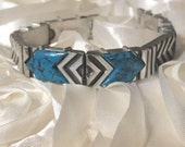 "Turquoise Pewter Ladies 7 1/2"" Bracelet Inlaid Polished 65 Grams TW"