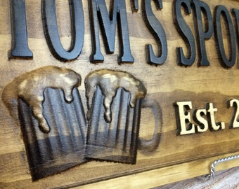 Wood Bar Sign, Wooden Pub Sign, Pub Décor, Bar Décor, Restaurant Sign, Custom Bar Sign, Business Sign, Custom Pub Sign, Pine Sign, Beer Sign