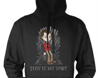 Features print of Sheldon Cooper sat on the Iron Throne. Crossover hoodie inspired by 'The Big Bang Theory' and 'Game of Thrones'.