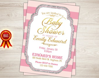 Pink Baby Shower Invitation. Gold and pink Baby Shower Invitation. Gold Glitter Baby Shower Invite. Girl Baby Shower Printable Baby Sprinkle
