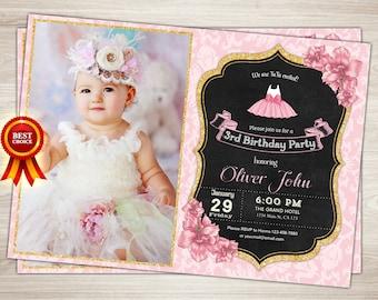 Ballerina Birthday Invitation Pink and Gold 1st Birthday Invitation Ballerina Invitation Ballerina Birthday 3rd Birthday Tutu Invite