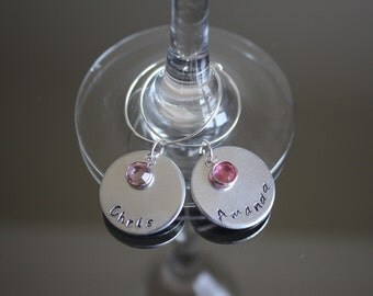 Personalised Wine Glass Charms with Swarovski Channel Set Birthstone