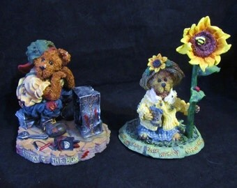 "Boyds Bears The Bearstone Collection "" Sparky & The Box + Blossum B. Berruweather-Bloom with Joy ""  Resin Figurines"