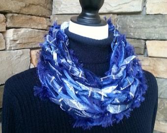 Cowl Neck Scarf, Arm Knit Scarf, Infinity Scarf, Knitted Scarf, Chunky Cowl, Blue Scarf, Fuzzy Scarf