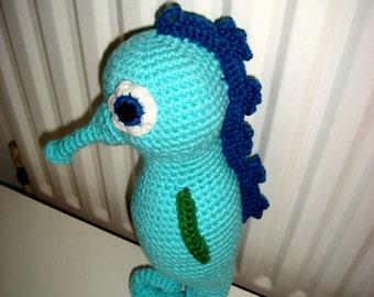 Seahorse, Amigurumi Seahorse, Crochet Seahorse, Large Seahorse, Green Seahorse, Handmade Soft Toy