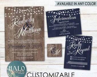 Rustic Wedding Invitation Set - Navy