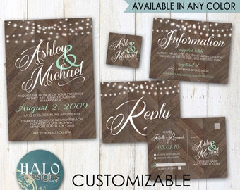 Rustic Wedding Invitations - chevron, Invitation & RSVP postcard, printable