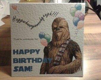 Personalised Star Wars Chewbacca Chewie Birthday Card - You choose name & Text Colour