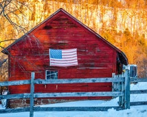 Americana photography,arts and collectibles, american flag, red barn, fall, fall scenes, New England, beauty, old, worn