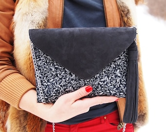 Big chamois textile GRAY  shoulder bag / handbag/ clutch
