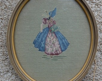 Vintage Southern Bell Needelpoint Tapestry in an Oval Frame! Measures 10X12