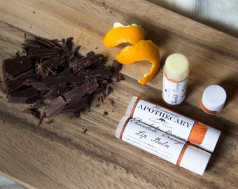 Chocolate Orange Lip Balm - All Natural - Hermanas Apothecary - Hand Poured - Made with Organic Cocoa Butter -Perfect for Chocolate Lovers!