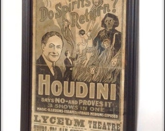 Houdini Spiritualism Show Poster aged reproduction in frame.