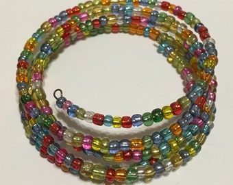 Brightly Colored Seed Bead Wire Wrap Bracelet