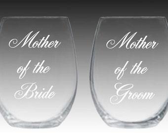 Set of 2 stemless wine glasses mother of bride mother of groom wedding!!