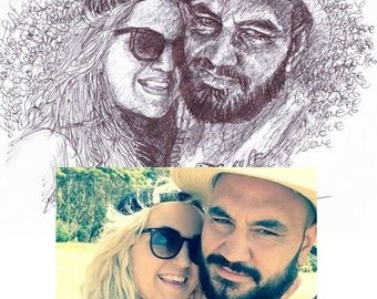 Custom Couples Portrait - Pen Art - Personalized Wedding or Anniversary Gift