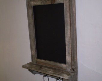 Rustic Handmade Kitchen Blackboard with Key Holders,Also great in the Potting Shed