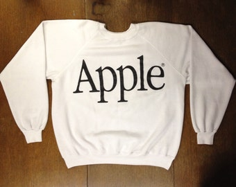 Vintage 90s Apple Pullover Sweatshirt Mac Computers Retro Thin Made In USA