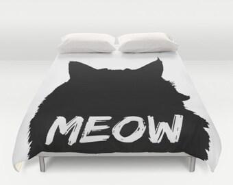 Cat Duvet Cover, Full Queen King Duvet, Meow Bed Cover, Cat Lover Duvet Black & White Bedding, Cat Lady Gift, Cat Comforter, Cat Silhouette
