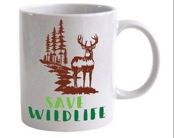 Save Wildlife Deer in the Forest Coffee Mug