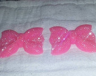 Pink large bow flat back resin for DIY projects, scrapbooking, hair bows, etc...