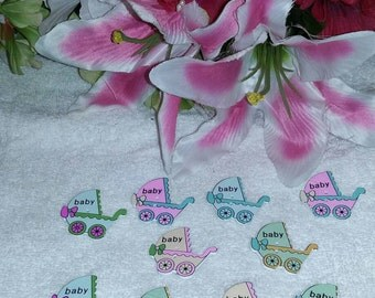 Set of 10 mix and match wooden baby carriage design buttons