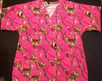 Pink Camo Scrub Top